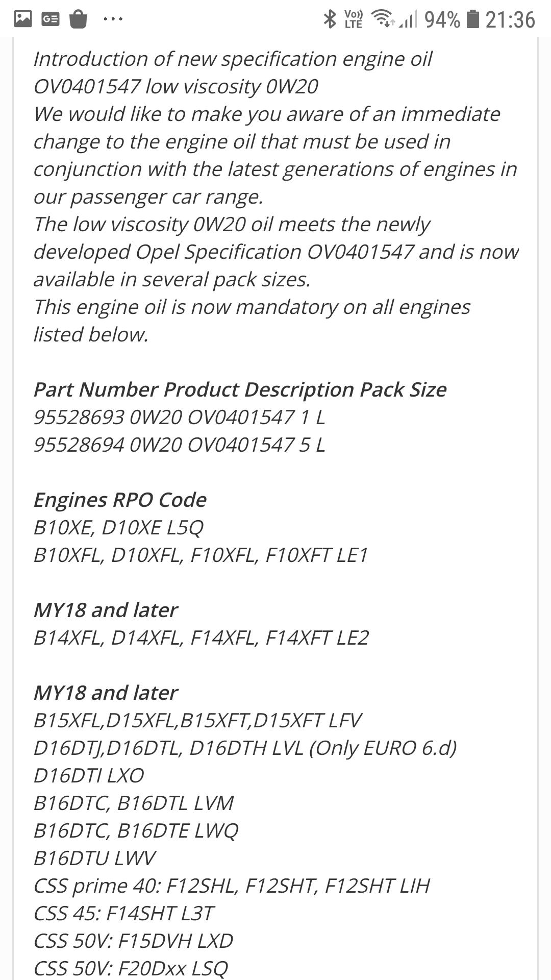 Cambio especificacion aceite Astra 1.4T 125cv File